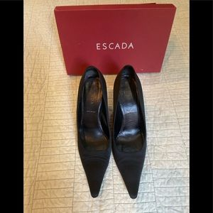 Escada black satin high heel with rhinestones
